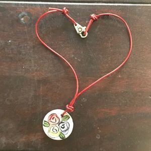 Jewelry - Beautiful red leather & clay necklace!!!